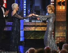 Slender star: Bette Midler, 70, who received the best actress in a musical Tony from Glen Close at the awards in New York on Sunday has lost 30lbs since  Hello, Dolly! bowed on Broadway