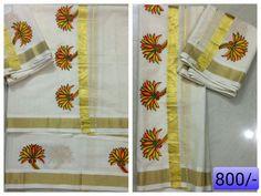 Saree Painting, Kerala Mural Painting, Fabric Painting, Kerala Saree, Indian Sarees, Hand Painted Fabric, Mehndi Images, Mural Art, Paint Designs