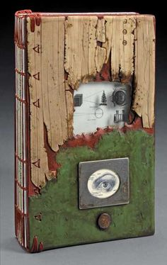 cover peep hole - polymer clay journal covers are rich with texture on a background of faux wood, jade and copper.