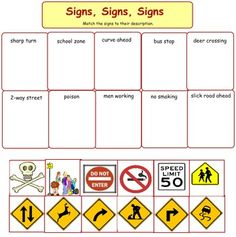 A cut and paste activity. Basic transportation signs that every student should be familiar with.