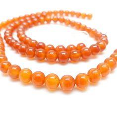 8 perles en agate orange  - 8 mm -
