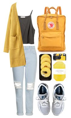 """""""Untitled #84"""" by tamara-xox ❤ liked on Polyvore featuring Topshop, New Balance, Fjällräven, Lindt, Pelle, casual, yellow, ootd and topshop"""