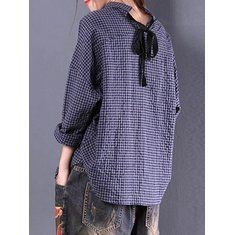 dbd089d7f9d097 Women Check Long Sleeve Ruffled Loose Baggy Tops Blouse
