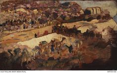 The road to Jerusalem by George Lambert. Depicts a gorge with mounted light horse men crossing the road and camel train on the left.