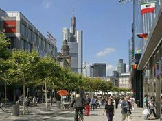 This is the Design Guide of Frankfurt, the largest city in the German region of Hesse and Germany's fifth largest city. It's also the financial capital of Europ Frankfurt, Shopping Street, Cities In Europe, Urban City, Travel Inspiration, Maine, Germany, Street View, Explore