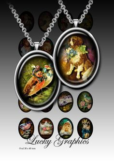 Digital collage sheet 30x40 mm oval for Resin Jewelry Printable Download Images Set 15