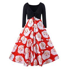 73bb8e6d941e Clearance! Daoroka Christmas Women's Vintage Dress Sexy V Neck Santa Claus  Print Long Sleeve Cocktail