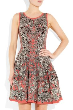 Alexander Mcqueen Flared Barnacle Intarsia Dress in Gray (coral) | Lyst