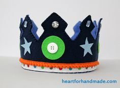 Felt crown for the little boys. Handmade using die cut stars, glitzy buttons, ribbons