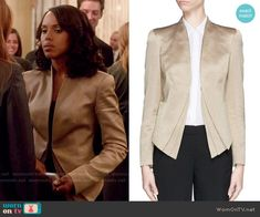 Olivia's gold jacket on Scandal.  Outfit Details: http://wornontv.net/53673/ #Scandal