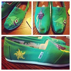 custom hand painted toms disney tangled by Handpaintedbykaitlyn, $100.00
