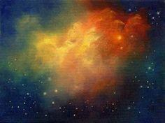 Angel's Flight, Original Abstract Celestial Night Sky Angel Paintinga by Marina Petro, painting by artist Marina Petro