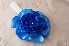 Sapphire Blue Elastic Headband - Custom Size. $15.00, via Etsy.