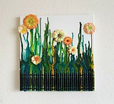 Another take on crayon art. I have begun to see these pop up from time to time, this is making more than just runny melted crayons and I liked it. I have a lot of old crayons so there maybe something to this new art genre! - Click image to find more Art Pinterest pins