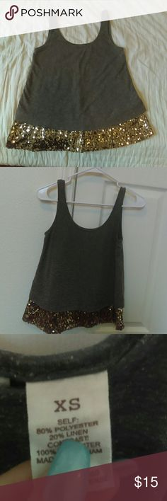 Pretty tank top Gold sequined and grey tank top . Super cute Tops Tank Tops
