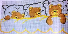 ursinho na cama 1 Cross Stitch For Kids, Cross Stitch Baby, Cross Stitch Animals, Cross Stitch Charts, Cross Stitch Patterns, Cross Stitching, Cross Stitch Embroidery, Baby Sheets, Patchwork Baby