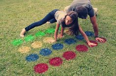 Twister spray painted on the grass! Yes!  Hahaha!