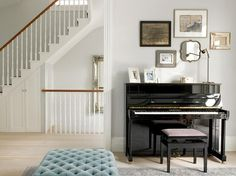 Black And Glossy Classic Piano With Frame At Wall For Decoration The Nice Place For Playing A Music Understanding eclectic style interiors Interior Design