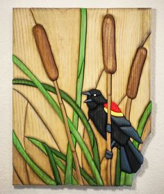 Red Winged Blackbird 93 piece Wood Intarsia from Eklektik Kreations by Katie http://www.eklektikkreationsbykatie.com/ Black bird cat trail cattail pond eclectic wood intarsia pysanky ukrainian art eggs segmentation marquetry sculpture wall animal sale scroll saw natural grain decor home house products hand made painted glass glasses wine gifts Easter wax dye decorative  glass decoration personalized name custom orders pet portrait sign