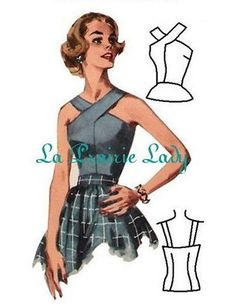 Vintage Top Pattern 50s with front features a criss-cross effect at neck edge which joins to back shoulder straps, and peplum front on Printable PDF. Easy to adjust bigger or smaller by the sides Bust: 34 Waist: 26 Hip: 36 Instructions included Paypal and Direct Checkout https://www.etsy.com/help/article/339 You hesitate to try a PDF pattern ?? Download this PDF LINK FOR HOW TO PRINT AND SETUP YOUR PDF PATTERN DOWNOAD PDF OF 2 PAGES https://www.adrive....