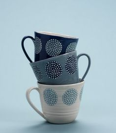 Katrin Moye's charming ceramics are inspired by traditional textiles of Eastern Europe, the origins of her family. She produces h. Pottery Painting, Ceramic Painting, Pottery Mugs, Ceramic Pottery, Mugs And Jugs, Clay Cup, Serveware, Tableware, Pottery Designs