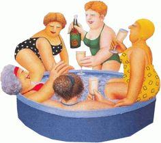 Sharing the kiddie pool by Beryl Cook, artist