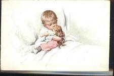 11534128 Feiertag Karl Kind Puppe Bett Kuenstlerkarte