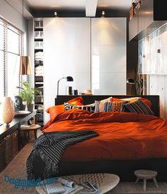 Ikea small bedroom   orange
