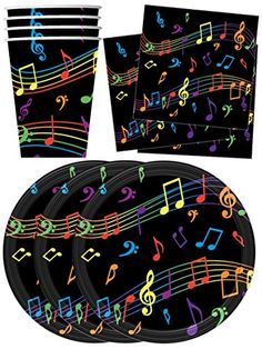 Colorful Music Notes Party Supplies Set Plates Napkins Cups Tableware Kit for 16 by. Enter your model number to make sure this fits. Party Tableware Kit for 16 Guests 7 Inch Paper Plates Paper Cups Napkins Music Theme Birthday, Rockstar Birthday, Music Themed Parties, Birthday Bbq, Music Party, 4th Birthday Parties, Birthday Ideas, 10th Birthday, Birthday Cake
