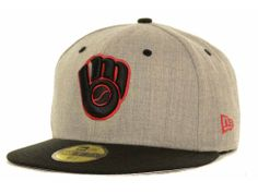 Brewers Baseball Caps | Milwaukee Brewers New Era MLB Gray Hound Fitted 59FIFTY Cap Hats