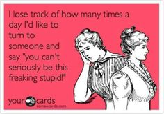 """I lose track of how many times a day I'd like to turn to someone and say """"you can't seriously be this freaking stupid!"""""""