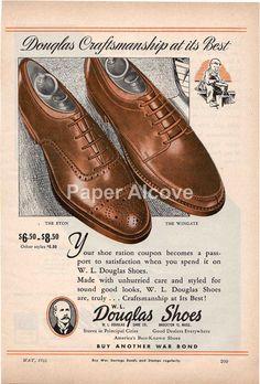 W.L. Douglas Shoes 1944 vintage original old by dustyshelves70