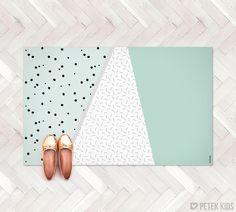 Mint Geometric Rug / Kitchen Rug / Minimalist Kids Rug / Decorative Floor Rug | Kitchen Mat / Linoleum Rug / Gift for New Mom / Green Rug