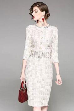 Work Elegant Sheath Beaded O-Neck Half Sleeve Bodycon Dress - Ropa-bordados-cabello - Elegant Outfit, Elegant Dresses, Casual Dresses, Dresses For Work, Bodycon Dress With Sleeves, Dress Up, Stylewe Dresses, Tweed Dress, Mode Hijab