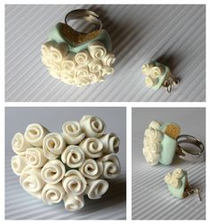 blue-green cake with flowers, handmade ring