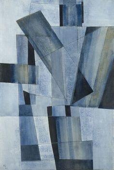 Kurt Lewy (Belgian, 1898-1963), Composition bleue n°158, 1958. Oil on canvas, 60 x 40 cm.