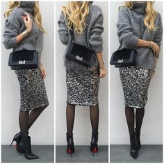 """#Zara knit, #HM skirt and tights, #LouboutinSoKate120mm boots and #ChanelBoyBag.  See previous post for Up Close."""