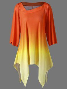 efec7a26ed9 Ombre Asymmetric Longline T-Shirt. Longline FemininaPretty OutfitsCool  OutfitsFashion OutfitsWomens FashionShirtsPlus SizeDenimClothes For Women