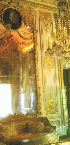 """The queen's bedchamber at Versailles, recreated to the state it was in, in October 1789… has been restored complete(ly) with its heavy white brocaded taffeta, woven in Lyon"""