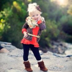 Cute little girl outfit. Sweater, Boots & Belt How I would dress my daughter!!