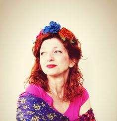 #Fascia elastica #Frida #Kahlo #fiori #fucsia #bluette #arancione #riciclo #riuso #tessuto e tessuto non tessuto #Messico : #Accessori per #capelli di filoecoloridiila #handmade #fridakahlo #boho #bohemien #botticelli #mexico