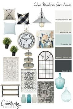 Tips, paint colors and product sources for pulling together a chic modern farmhouse design style in your own home.