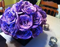 Coffee filter flower centrepieces :  wedding black diy flowers purple reception white Centrepiece Close - dip in purple acrylic paint mixed with water and let them dry over night before assembling