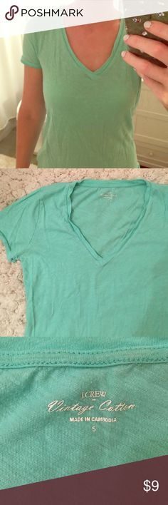S JCrew vneck t - vintage cotton - light turquoise This is the softest t shirt! Beautiful color and only worn a few times. In excellent shape. J. Crew Tops Tees - Short Sleeve