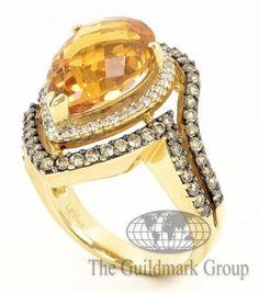 New 14K Yellow Gold LeVian Chocolate Diamond, White Diamond & Citrine Ring 7.25 Retail $6,895 - 8.5 Grams - 0.87 cttw - Free Shipping