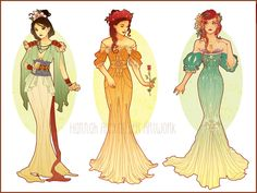 Art Nouveau redesign of Mulan, Belle, and Ariel. So beautiful!
