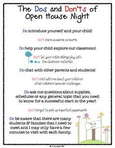 Dos & Don'ts of Open House  Parent to Teacher Info Sheet FREEBIE image 2