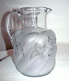 """EAPG - Northwood - Royal Ivy - Clear & Frosted - Water Pitcher 8 1/4"""""""