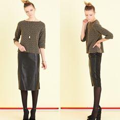 Lange leren rok in zwart en groen van Ottod'Ame.