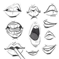 """Reposting some mouths from my July """"body parts"""" challenge."""